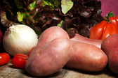 Raw salad, mix of ingredients — Stock Photo