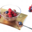 Chocolate mousse with red fruits — Stock Photo