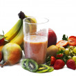 Milk shake with fruits selection — Stock Photo