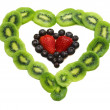 Fruits heart shape — Stock Photo