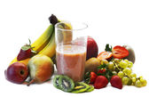 Milk shake with fruits selection — Stock fotografie