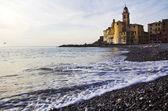 Camogli strand med kyrkan — Stockfoto