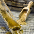 Honey flowing and pollen on wooden spoon — Stock Photo