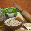 Trofie and pesto ingredients — Stockfoto