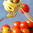 Fork with pasta, tomato and olive — Stock Photo #9969803