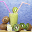Banana and kiwi milk shake — Stock Photo