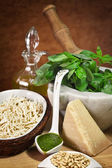 Trofie and pesto ingredients — Stock Photo