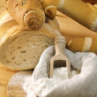 Stock Photo: Flour, bread ingredients and flour