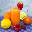 Soft drink with fruits selection — Stock Photo