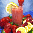 Stock Photo: Strawberry,raspberries and lemon soft drink