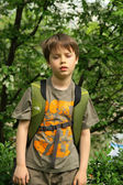 The boy with backpack in the summer — Stock Photo