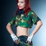 Camouflage female dj — Stock Photo #10006586