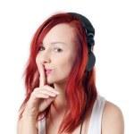 Be Quiet! I'm listening music! — Stock Photo