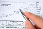 Hand with pen with stock chart — Stock Photo