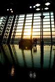 Coucher de soleil aéroport — Photo