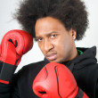 Stock Photo: African American Boxer aggression