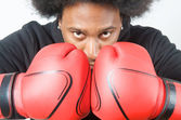 African American Boxer pose — Stock Photo