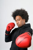 African American Boxer in defence — Stock Photo