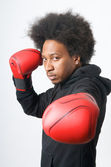 African American Boxer posing — Stock Photo