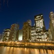 Cityscape view at the Chicago River at night. — Stock Photo
