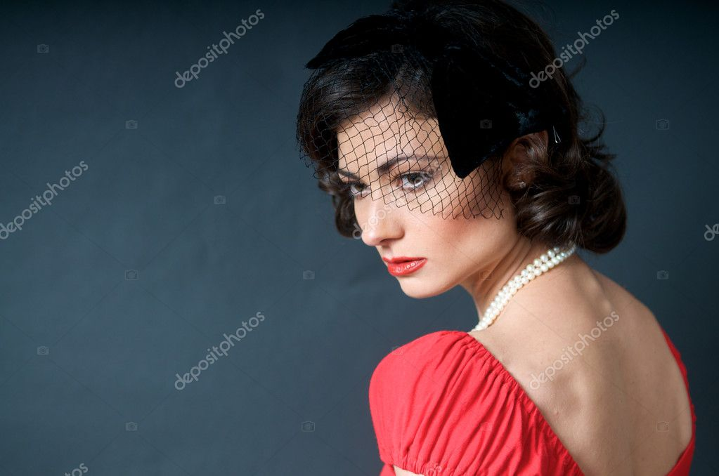 Portrait of beautiful caucasian model studio — Stock Photo #10460861
