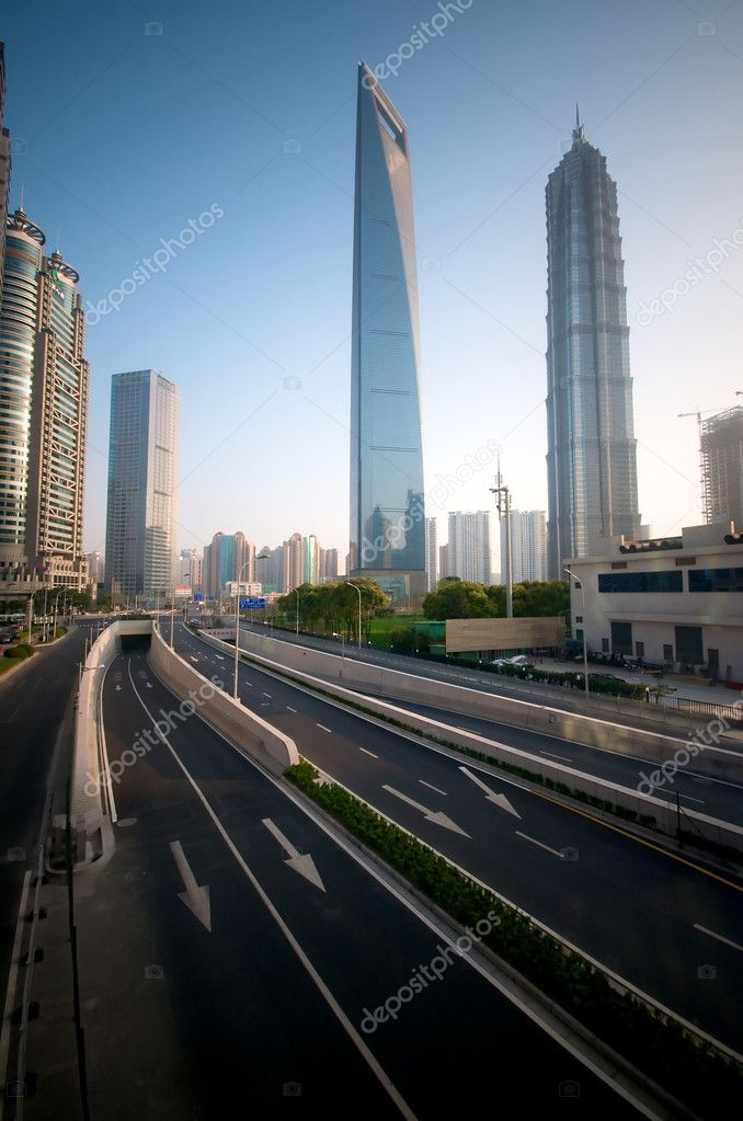 Shanghai modern infrastructure building from the freeway — Stock Photo #10478654