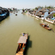 Boat on Chinese Ancient Town — Stock Photo