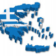 3D Greece map with flag — Stock Vector
