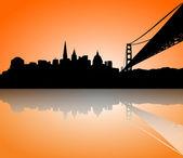 San Francisco Skyline Silhouette sunset — Stock Vector