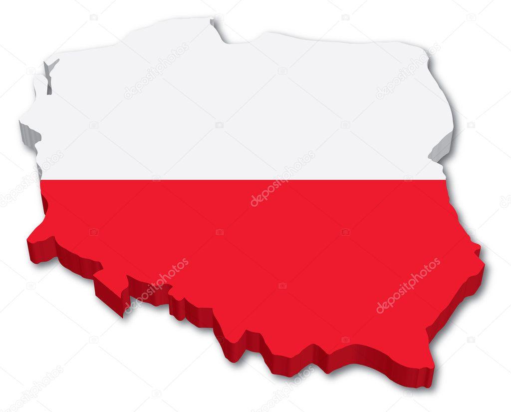 3d 波兰地图与标志 — 图库矢量图片#10562653