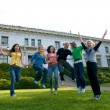 Students Jumping — Stock Photo