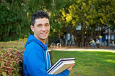 Student with Text book — Stock Photo