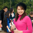 Asian Student on campus — Foto Stock
