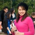 estudante asiática no campus — Foto Stock