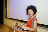 African American student speech podium — Stock Photo