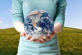 Girl save Earth Environment Recycle — Stock Photo