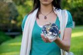 Girl saves Environment Earth — Stock Photo