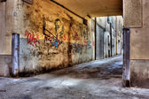 Dirty lane in the old town — Stock Photo