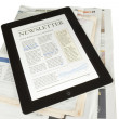 Stock Photo: Newspapers & tablet pc