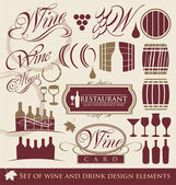 Wine and drink design elements — Stock Vector