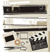 Eski film ve film tasarım öğeleri — Stok Vektör