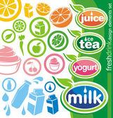 Les étiquettes de boissons et d'icônes — Vecteur