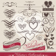 Calligraphic design elements for Valentine's Day - Stok Vektör