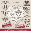 Calligraphic design elements for Valentine's Day — Stok Vektör