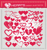 Heart icons and design elements — Stock Vector