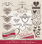 Calligraphic design elements for Valentine's Day — Stock Vector