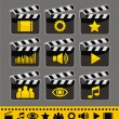 Stock Vector: Video and audio icon set