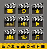 Video and audio icon set — Stock Vector