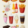 Set of colorful cartoon fast food icons. — Stock Vector