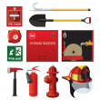 Set of firefighting equipment. - Stock Vector